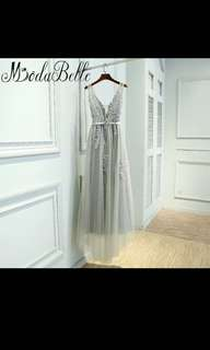 Beautiful Grey V neck lace Dinner Gown