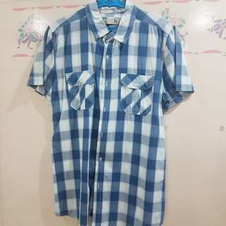 Cotton On Men's Light Blue Checkered Polo