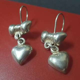 Guess silver dangling earings