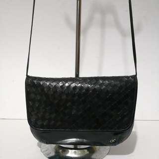 Authentic Vintage Oleg Cassini Black Woven Leather Sling Bag