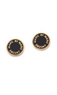 💚現貨💚Marc by Marc Jacobs Classic Enamel Logo Disc studs classic enamel disc Stud earrings 黑金 白金 耳環