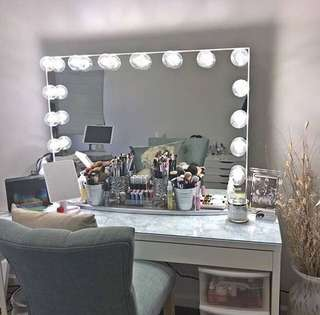 Vanity set (table,frameless hollywood mirror and wooden stool)