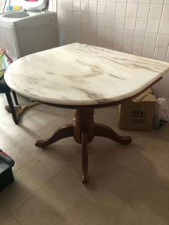 Top Marble Table with Wooden Base