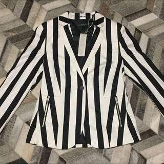 Brand New Espirit Black And White Striped Blazer Jacket
