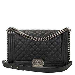 Chanel Black Cavier New Medium Boy Bag with Ruthenium Hardware