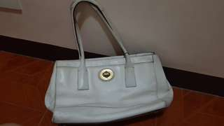 Pre-loved white leather Coach Bag