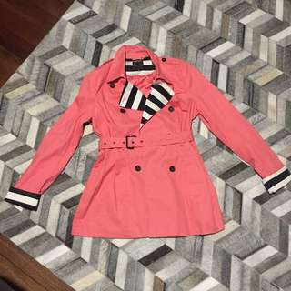 Portmans Pink Coat Jacket With Black And White Striped Details