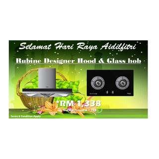 HARI RAYA PROMOTION : RUBINE DESIGNER HOOD & GLASS HOB