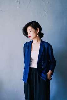 🚚 (勿下標)日本古著深藍色西裝外套 浴衣 透膚