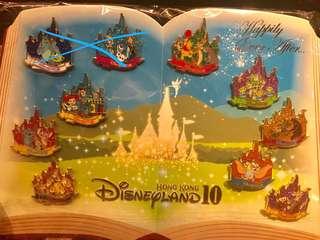 香港迪士尼 10週年 徽章 襟章 LE