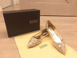 {高妹大腳恩物} 100%新 美國 Badgley Mischka Gigi Ivory flats US 8.5 平底鞋 婚鞋 結婚 婚禮 晚裝鞋
