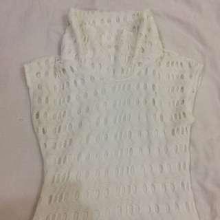 Turtle neck white dress