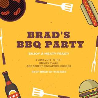 BBQ Party Invitation Card