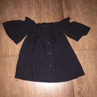 Shopcopper black off shoulder top with faux buttons