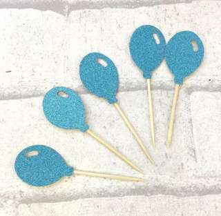 Blue Balloons Birthday Cake Cupcake Toppers Topper Balloons Decoration Party Bunting Decor