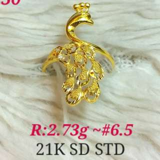 ( size: 6.5 ) 21K SAUDI GOLD RING '.