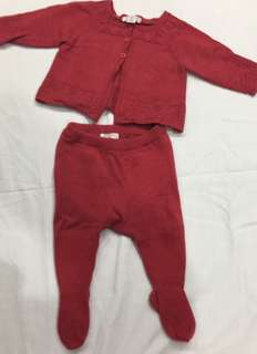 (000) pure baby Red knitted cardigan and matching leggings