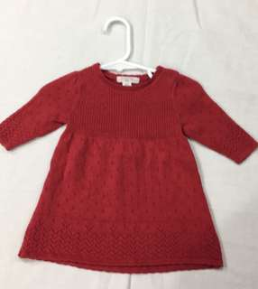 (000) pure baby Red knitted dress & bonnet