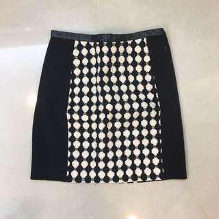 🚚 黑色 A字裙 短裙 皮革 拉鍊 正式 歐美 全新 H&M