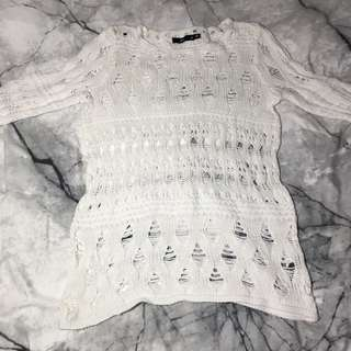 sportsgirl white loose knit sweater