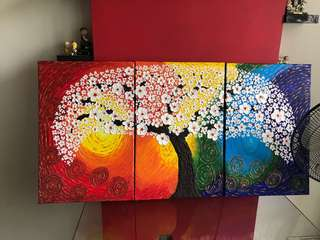 Modern 3D 3-panel textured painting, bright colours with white orchids