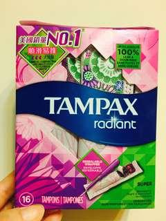 🆕全新正貨未拆封 美國銷量NO.1 TAMPAX radiant super 大流量 順滑易推 每盒16包獨立包裝
