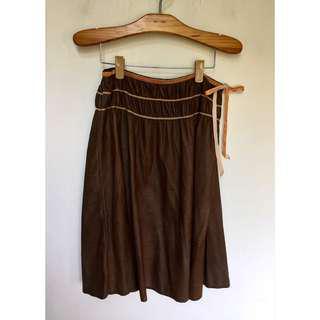 所有商品皆可議價‼️ 穿不到三次 蝴蝶結綁帶深棕過膝裙