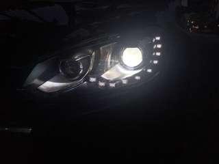 Golf6大燈 媚眼日行燈、魚眼