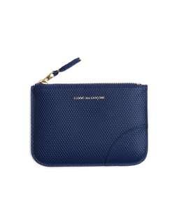 [代購] COMME des GARCONS HOMME PLUS Textured Leather mini zip pouch (Navy/Black) 銀包 藍色 黑色 Wallet