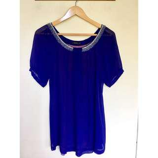所有商品皆可議價‼️ 極少穿 MOMA 珠領藍色上衣 M