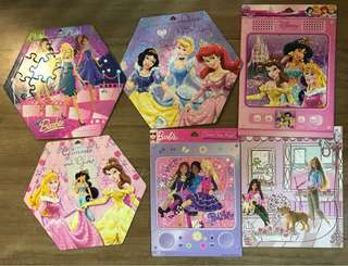 Pre-loved Assorted Barbie and Princess Puzzles