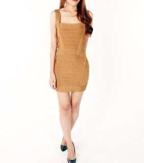 Brown herve leger dress look a like / baju pesta coklat / preloved bodycon slimfit / party dress cocktail / kemben dress / sexy back