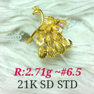 ( size: 6.5 ) 21K SAUDI GOLD RING '...