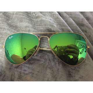 Rayban Green Mirror Metal Aviator Unisex 0rb3025 58' Sunglasses