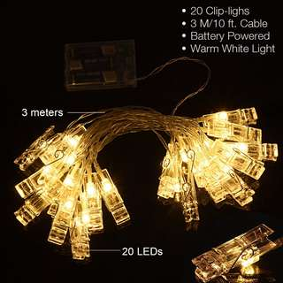 223  20 LED Photos Clips String Lights