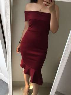 Red maroons dress