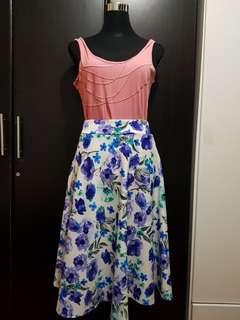 Preloved White and Purple Skirt Elastic Waist Freesize