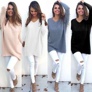 Womens Loose Long Sleeve Knitted V Neck Pullover Warm Sweater Jumper Blouse