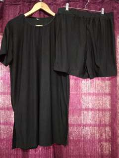 Plus size Terno (long shirt with slit and shorts)