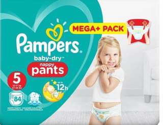 Pampers baby dry nappy pants 84 pieces 12-17kg (size 5)