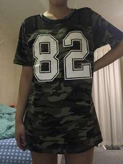 Camo Shirt Dress w/ Mesh