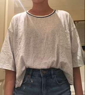 Grey Elbow Length Crop Tee / Factorie