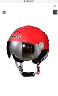 Ebike Scooter Motorcycle Snow Ski Helmet SK-2012 For Mens and Womens  Matt Red,Silver Mirror Anti fog Visor Size Medium