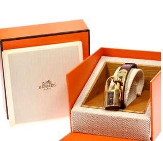 Authentic Hermes Kelly Bracelet Watch ⌚️ vintage burgundy color 90%new
