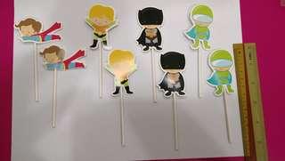 DC Heros Cake Topper,  Cupcake Topper,  Cake Picks.  8pcs