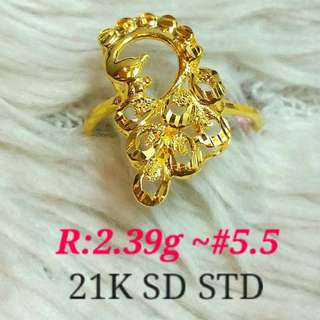 ( size: 5.5 ) 21K SAUDI GOLD RING '....