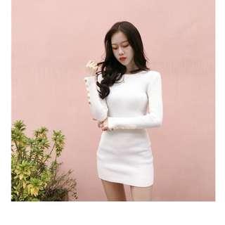 🚚 Winter clothing New college wind Korean style fashion cuffs button slim knitting bottom dress