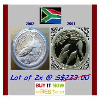 ♦ South Africa R2 Rand, 2001 & 2002 Marine Series - 2x 1 Oz+ Troy (999) Fine Silver Proof coins