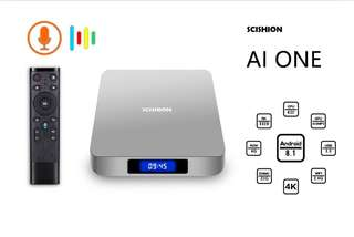 AI One Android TV Box 4K Support, Quad-Core CPU, 4GB RAM, Google Play, Kodi TV, Wifi, Android 8.1, 64GB SD Card Support (CVAFB-E896-4+32GB)