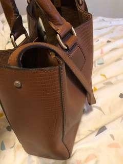 Leather brown handbag briefcase style
